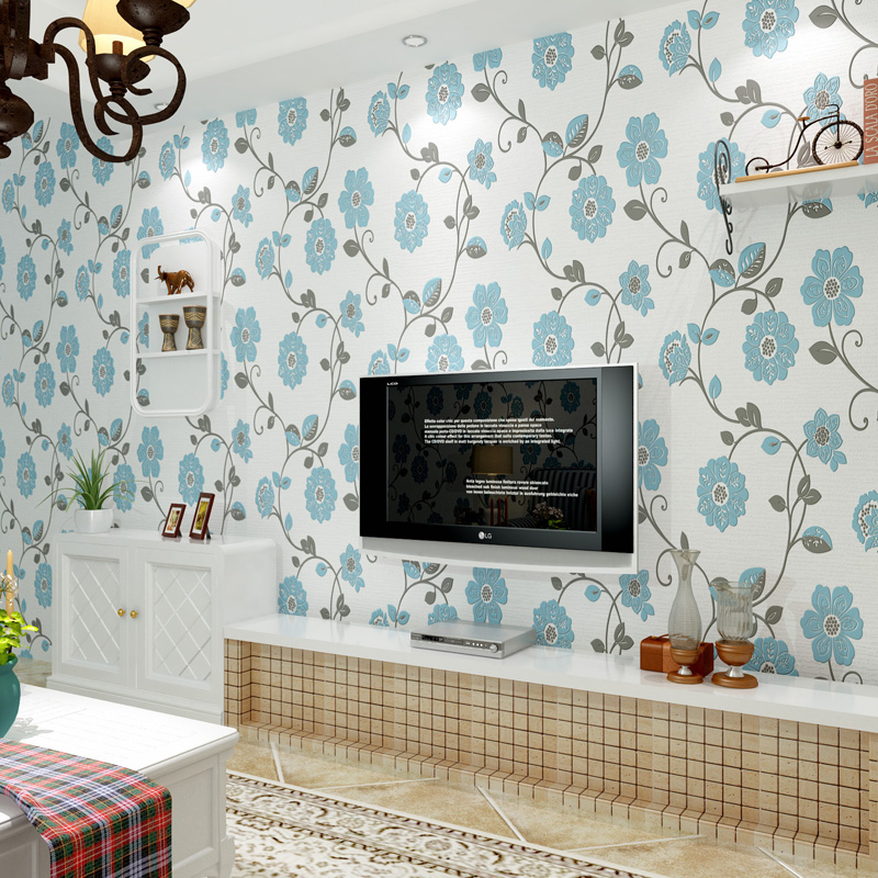 Blue Pastoral Floral Wallpaper 3D Embossed Flocking Non-Woven Fabric Wallpapers For Living Room Bedroom TV Background Wall Paper