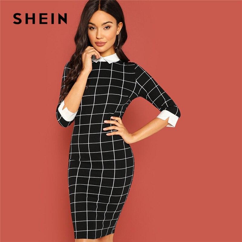 503b846a411e8 SHEIN Black Office Lady Plaid Contrast Collar And Cuff Grid 3 4 Sleeve  Pencil Dress