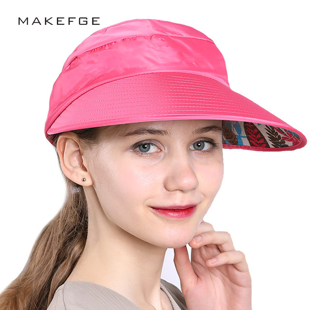 2018 NEW Hat summer women s sun-shading dual hat anti-uv large brim sun hat  beach cap strawhat visor hat free shopping 1e9004391e46