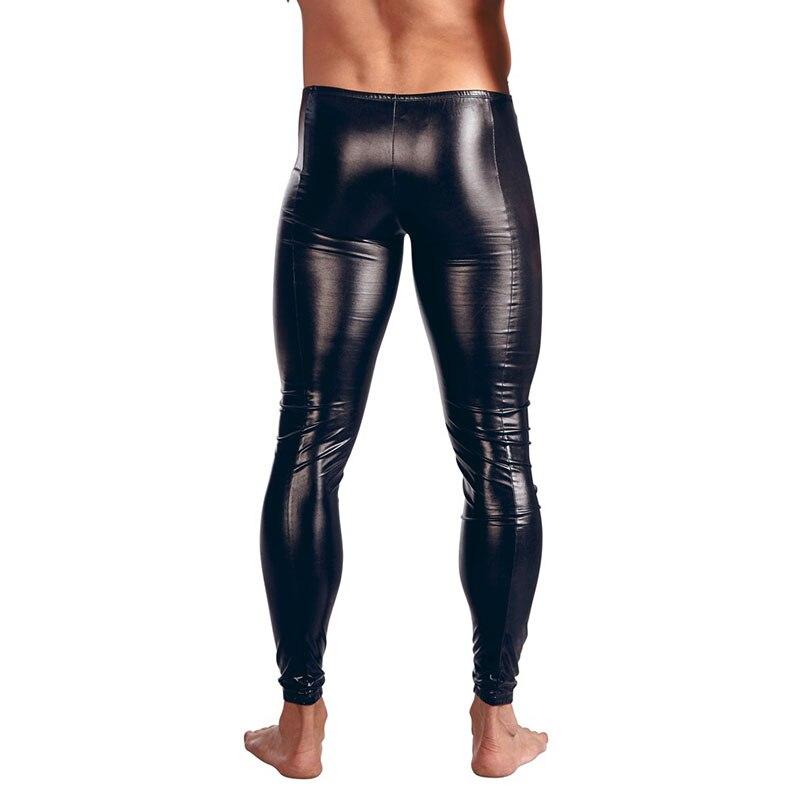 f70fdae374846 Gothic Men's Skinny Faux Leather Tight Pants Men Sexy Flat Front Zipper  Dance Club Leggings Black Wetlook PVC Long Trousers XXL-in Skinny Pants  from Men's ...