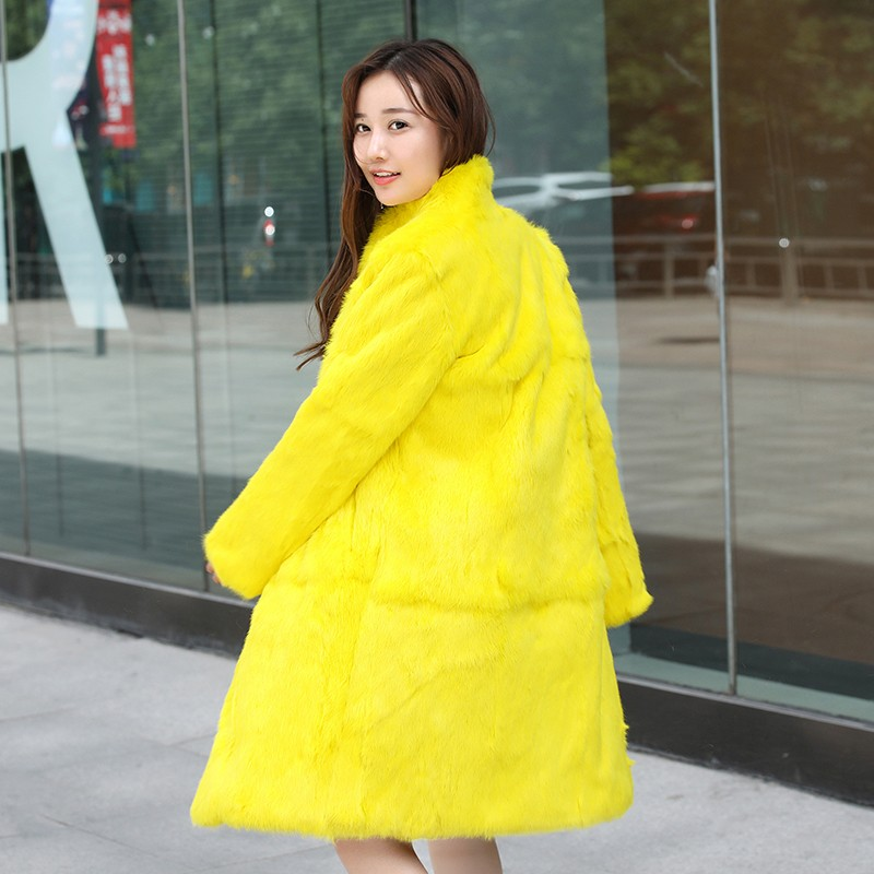 2019 New genuine natural real whole skin rabbit fur coat women long fashion jacket winter outwear