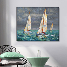 Laeacco Canvas Painting Calligraphy Sailboat Sea Landscape Posters and Prints Wall Artwork Home Living Room Decoration