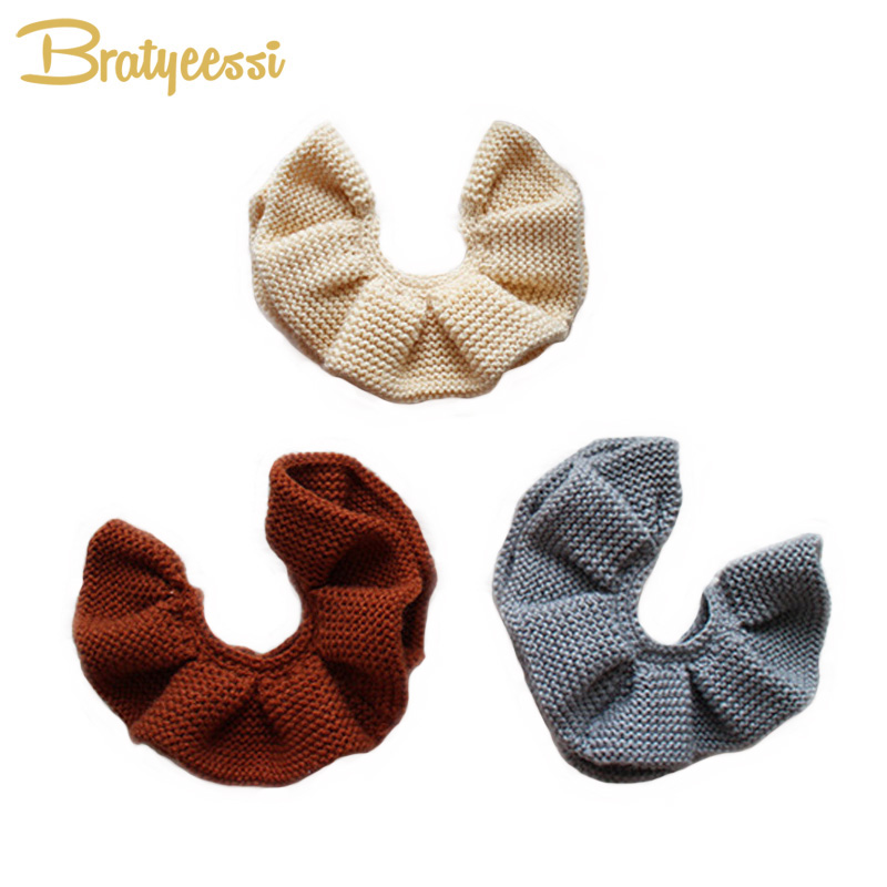 Sweet Knitted Winter Baby Scarf All Match Warm Infant Scarf Round Cotton Baby Bibs for 0-3 Years 1PC