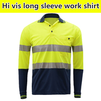 EN471 High Visibility Workwear Two Tone Safety Long Sleeve Yellow Shirt Reflective Work Shirt Clothing