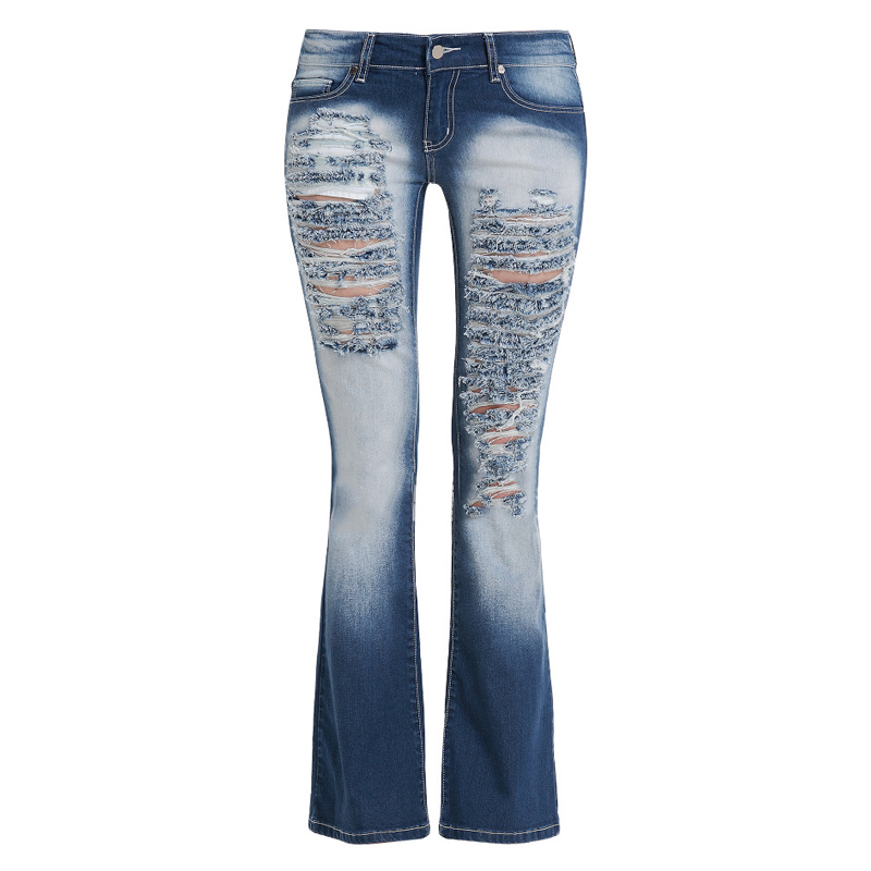 woman classic ripped jeans trous femme distressed hole stretch bootcut denim pants straight leg. Black Bedroom Furniture Sets. Home Design Ideas