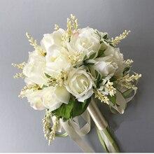 Новое поступление, свадебные букеты для женщин, искусственный букет цветов, белые 20*20 см, цветы ручной работы для подружки невесты