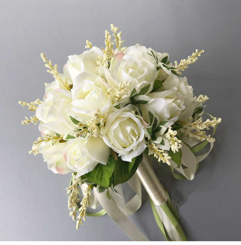 fd46a7f4f0 2019 New Arrival Bridal Bouquets Women Wedding Artificial Flower Bouquet  Off White 20*20 Cm Handmade Flowers for Bridesmaid