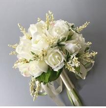 2020 Nieuwe Collectie Bruidsboeketten Off Wit 20 Cm Handgemaakte Bruiloft Kunstmatige Bloem Voor Bruidsmeisje
