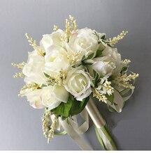 2020 nuovo Arrivo Da Sposa Bouquet Off Bianco 20 CENTIMETRI Fatti A Mano Delle Donne di Cerimonia Nuziale del Fiore Artificiale per la Damigella Donore
