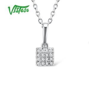 Image 4 - VISTOSO Gold Pendants For Women Authentic 14K 585 Rose White Gold Sparkling Diamond Simple Square Pendant Wedding Fine Jewelry