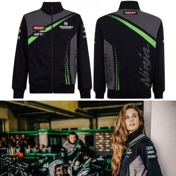 Новый мотоциклетное худи одежда куртка свитер Одежда для велоспорта стенд воротник костюм рыцаря локомотив Kawasaki >> JLMOTO Store