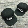 2017 venda quente rainha do rei bordado snapback chapéu boné de beisebol das mulheres dos homens casal presentes moda acrílico hop esporte caps unisex