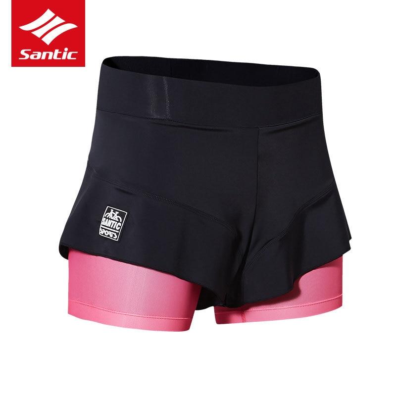Santic Cycling Shorts Women Girl Sport Skirts Short Comfortable 4D Padded Mini Skirt Sport Bike Bicycle Cycle Short Skirt|Cycling Shorts| |  - title=