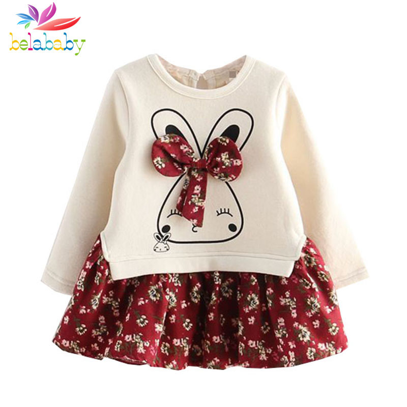Belababy Autumn Cartoon Cute Bunny Rabbit Dress Floral Bow Long Sleeve Girl Dresses Cotton Patchwork Girls Clothing Kids Clothes 3 colors short and long sleeve plus size women dress 2016 autumn casual dresses patchwork pencil dress