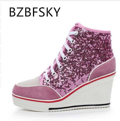 sweet pink sequined spring/autumn shoes women casual shoes
