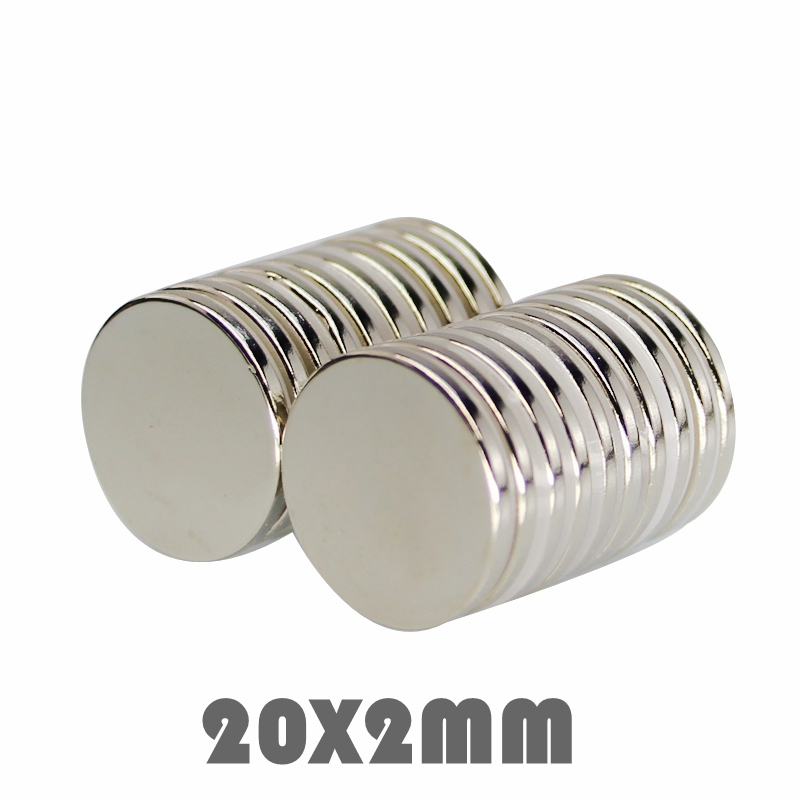 10/30/100P 20x2 Mm Neodymium Magnet Strong Round Magnet N35 20*2 Mm Search Magnet Rare Earth Magnets For Crafts Gallium Metal