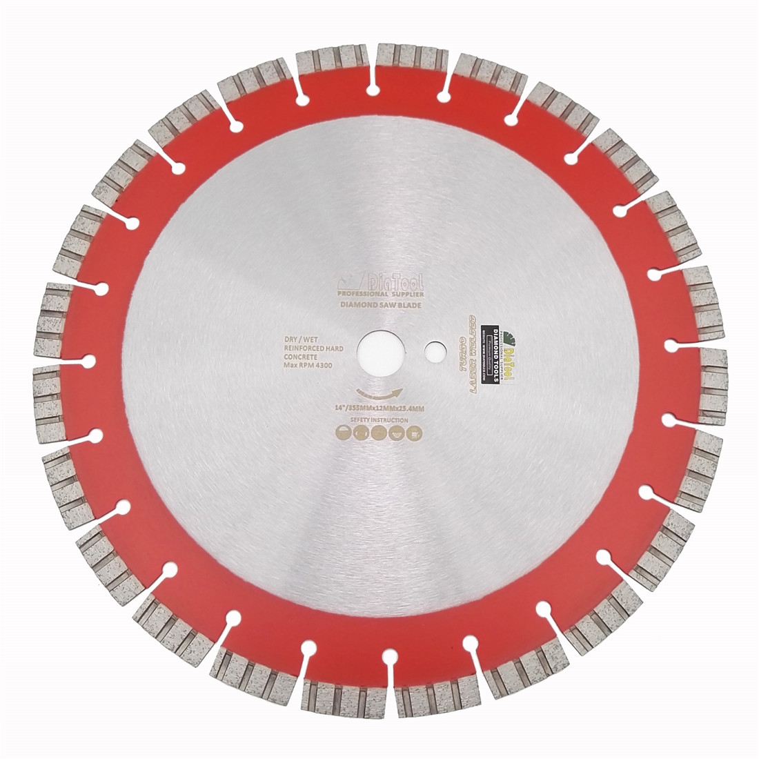 цена на DIATOOL 14Professional Laser welded High Turbo segments Diamond Saw Blade 358MM Cutting Reinforced concrete Disc Diamond Wheel