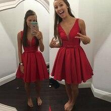 HC39 Einfache Sexy Kurze Rot Homecoming Kleider Tiefem V-ausschnitt Kurz Satin Homecoming Kleid 2016 Cocktailkleider prom Party Kleider