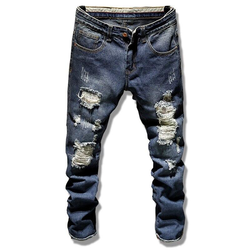 2017 New blue Zipper Jeans Men Slim Stretch Ripped Distressed Mens Biker Jeans Skinny Hip Hop Jogger Pants Streetwear Trousers 2017 mens denim ripped jeans slim fit hip hop jogger pants men skinny biker jeans streetwear hole pantalon homme