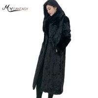 M Y FANSTY 2017 Imported Velvet Mink Fur Winter Coat Turn Down Collar Long Sleeve Solid