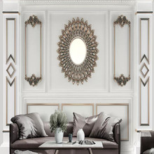 3D white plaster embossed European pattern background wall