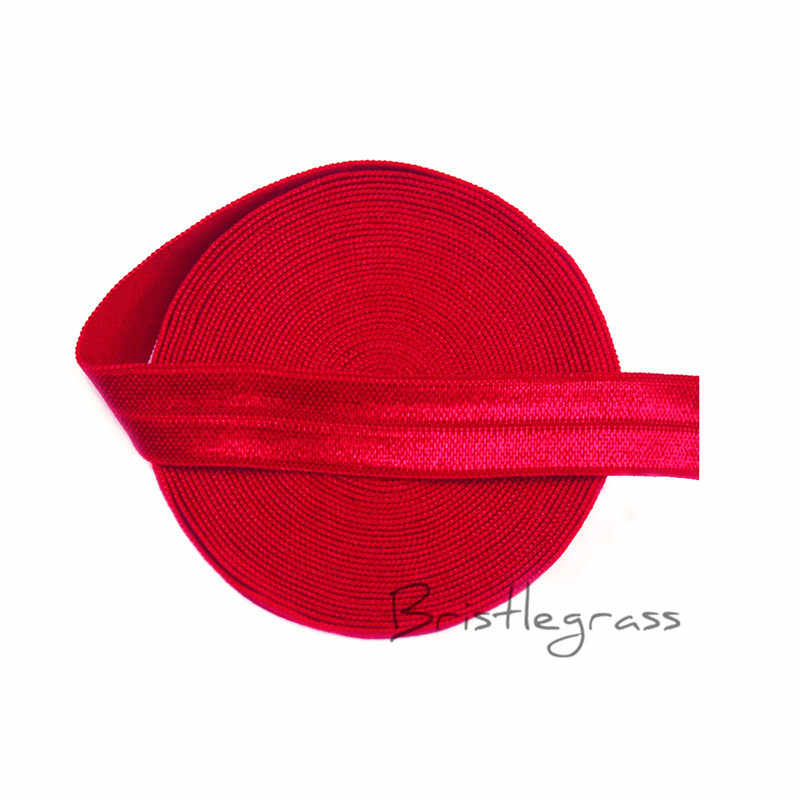 "BRISTLEGRASS 5 Yard 5/8 ""1.5 cm Poppy Red Rắn FOE Fold Over Elastics Spandex Satin Kids Hairband Headband Ren Trims DIY May"