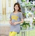 5 colores y dos tamaño M / L algodón embarazada camisetas con letras camiseta de maternidad con del o-cuello suelta y cómoda