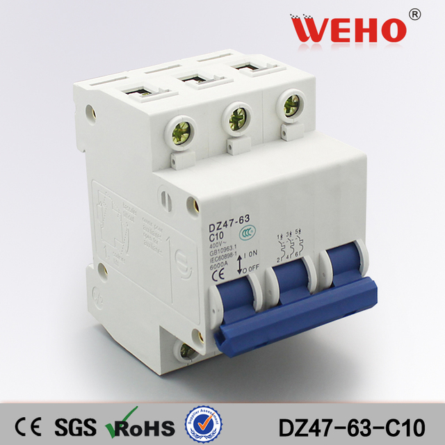 DZ47 63 C10 3 Phase 10 Amp Mcb Mini Type Circuit Breaker-in Circuit ...