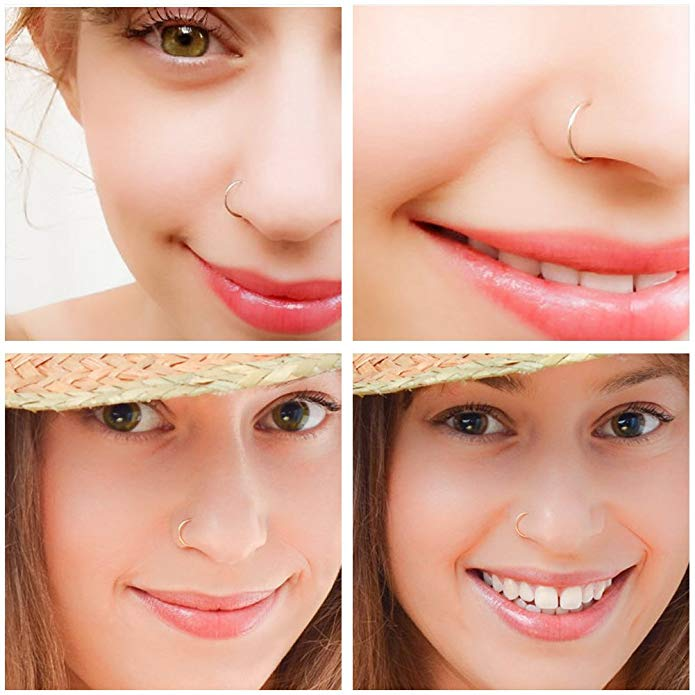 1pcs 22g Nose Ring Stainless Steel Septum Hinged Clicker Seamless