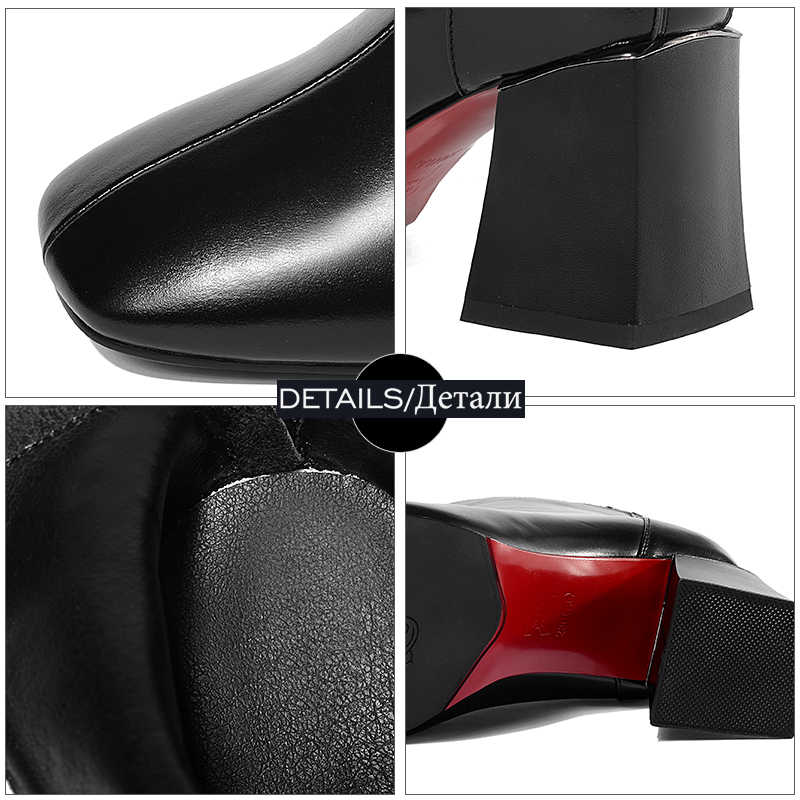 WETKISS Hakiki Deri Kadın yarım çizmeler Zip Kare Ayak Ayakkabı Kalın Yüksek Topuklu Kadın Çizme moda ayakkabılar Kadın 2018 Kış