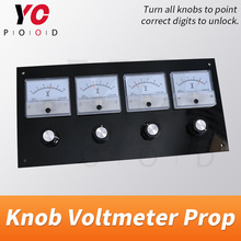 Knob Voltmeter Prop real escape room turn all knobs to right position to point correct digits to unlock takagism supplier YOPOOD real life escape room props puzzles flashlight laser shine to unlock with audio room escape games control 12v em lock