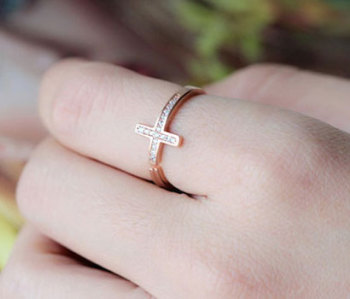 Sterling Silver Zircon Cross Ring | Boho Fairy