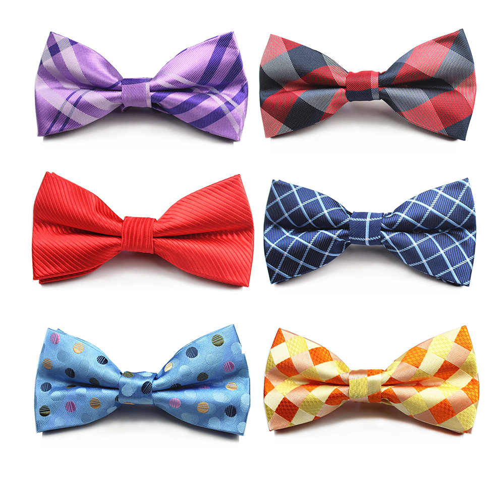 RBOCOTT Vintage Blue Plaid Bow Tie Men's Bow Ties Traditional Striped Red & Black & Brown Bowties For Groom Business Wedding