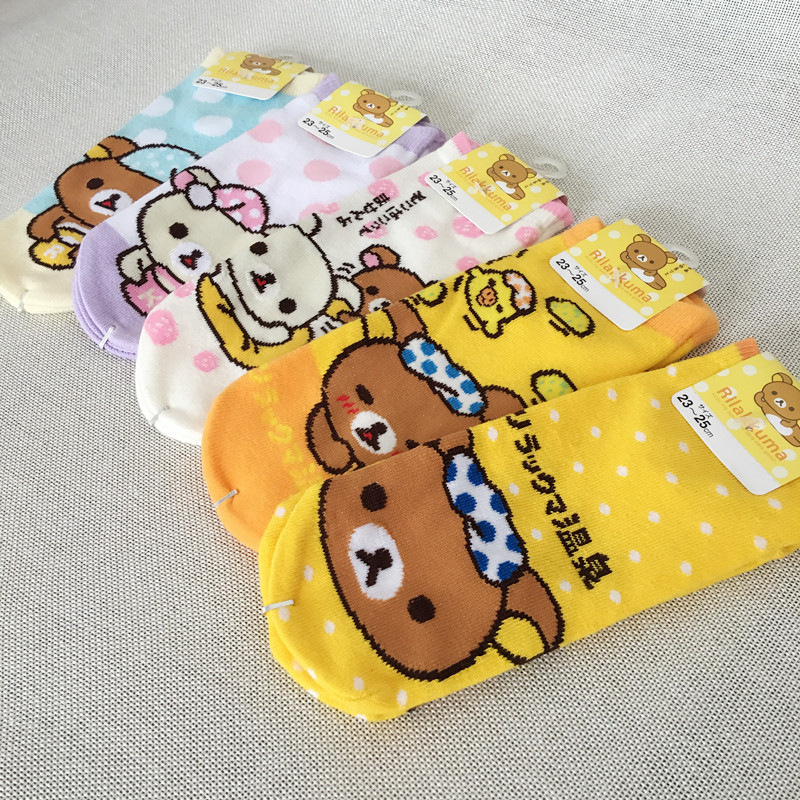 Cartoon animal Rilakkuma short print sock striped Stitching orange bear women cotton nude sock funny novelty comfort Calcetine
