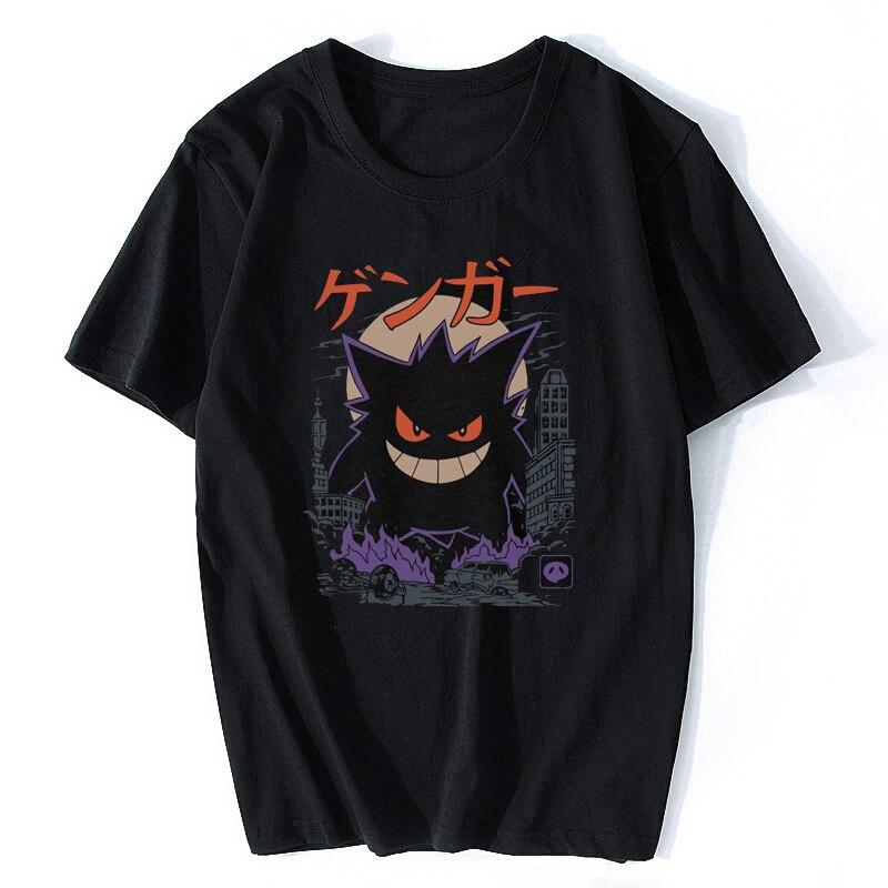 Gengar kaiju japão estilo pokemon camiseta masculina algodão manga curta o pescoço topos camisetas moda 2019