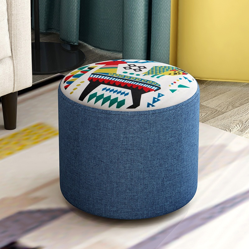 Creative stool fashion sofa stool fabric stool living room wood frame stool small bench home simple ottoman child seater 20cm
