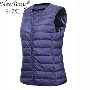 Image 1 - NewBang marka 6XL 7XL büyük boy yelek kadın sıcak yelek Ultra hafif aşağı yelek kadınlar taşınabilir kolsuz kış sıcak astar