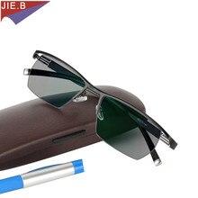 Gafas fotocromáticas para presbicia para hombre, lentes de estilo masculino de aleación de titanio, cuadradas a la moda con media llanta, gafas clásicas de lectura, 2019