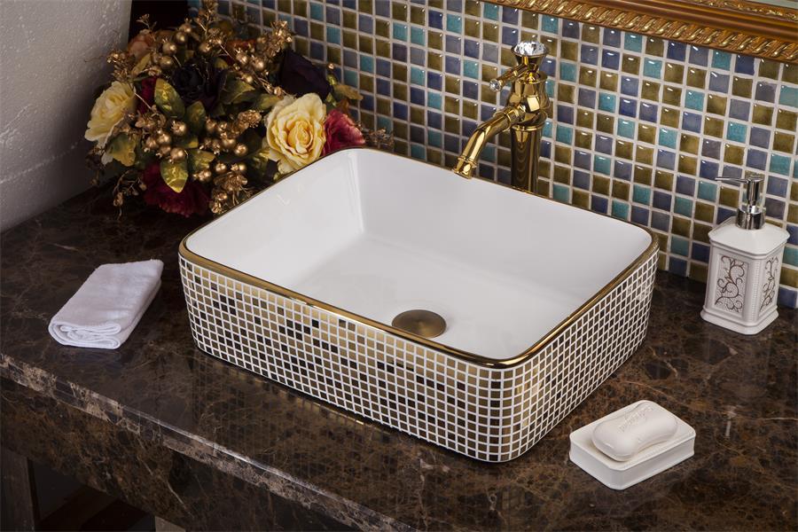 Rectangular Bathroom Cloakroom Ceramic Counter Top Wash Basin Sink Washing basins wash art basin (5)