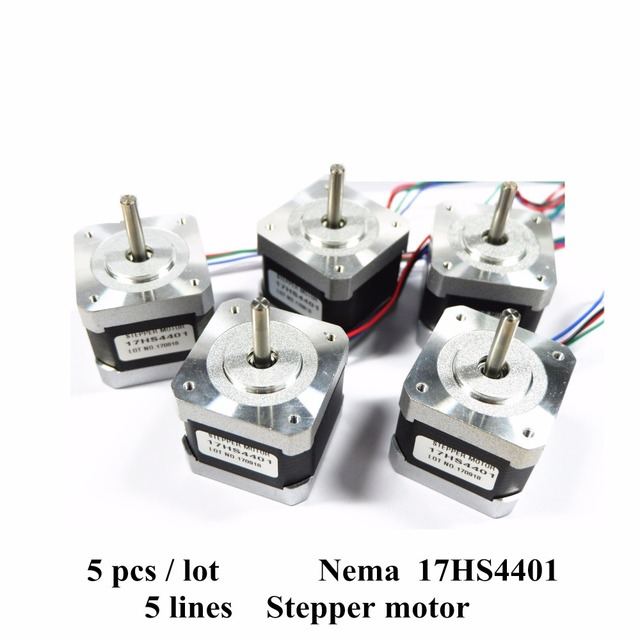 Free Shipping 5pcs/lot Nema 17 Stepper Motor 4-Lead Nema 17HS4401 1.7A 2 Phase 42 MotorFor Suitable For 2 Phases Driver