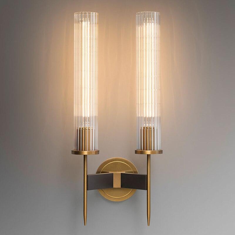 LED современный латунный настенный светильник бра Ребристое стекло винтажный Ретро Медный прикроватный светильник для спальни Ресторан оте