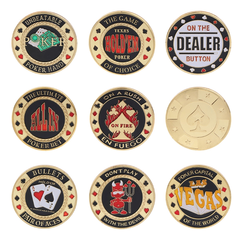 Metal Poker Card Guard Texas Holdem Chips Commemorative Coin Gold Plated Gift
