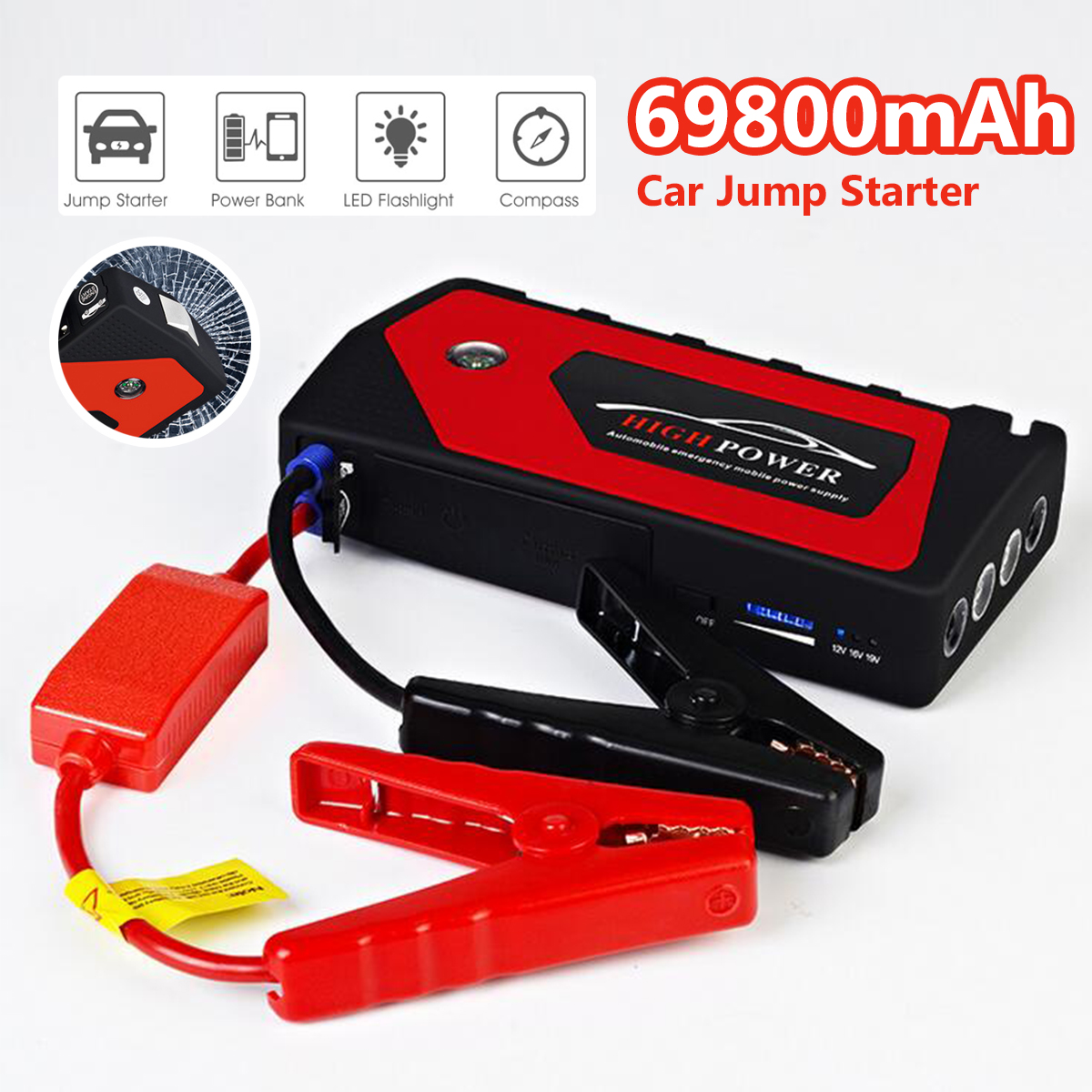 Car Jump Starter Emergency 69800mAh 12V Starting Device 4USB SOS LED Light Mobile Power Bank Car Charger For Car Battery Booster 12v mini portable 82800mah led car jump starter engine auto emergency starting device power bank car phone charger with 4usb