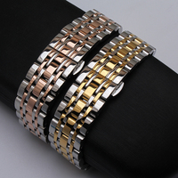 Stainless steel wristwatch double click butterfly buckle watchband strap bracelet 14mm 16mm 18mm 20mm 22mm 24mm Accessories 2019