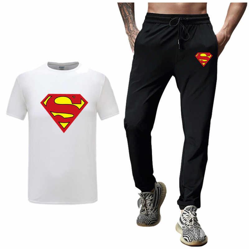 2019 ホット販売スーパーマンの男性のセットの Tシャツ + パンツ 2 枚セットカジュアルトラックスーツ快適なカジュアル Tシャツ男性カジュアルセットパンツ