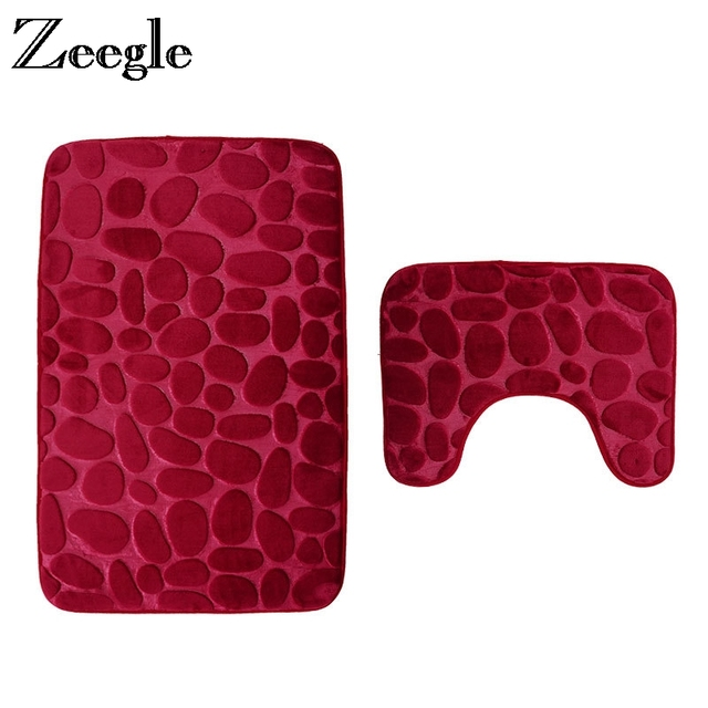 Zeegle Pebble Embossed 2Pcs Bathroom Rug Set Anti-slip Shower Mats Bathroom Floor Mats Toilet Bath Rug Memory Foam Bath Mat Set