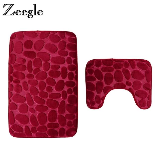 Zeegle Pebble In Rilievo 2 pz Bagno Tappetini Set Anti-slittamento Doccia Zerbin