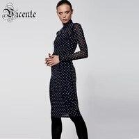 Free Shipping! Chic White Dot Midi Dress Long Sleeves Turtleneck Autumn Wear Wholesale Celebrity Party Bandage Dress