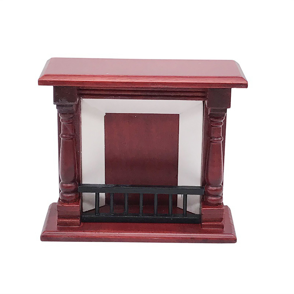 1:12 Dollhouse Miniature Furniture Room Wooden Simulation Vintage Red Fireplace Decoration Kids Play Toys A515