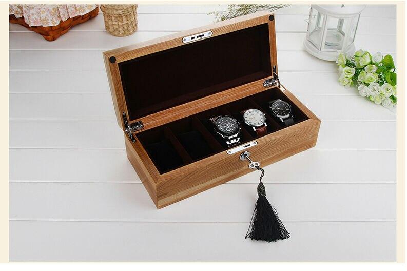 Luxe mode original chêne bois 5-grille montre boîte en bois montre case marque montres boîtes cadeau boîte de rangement MSBH004a